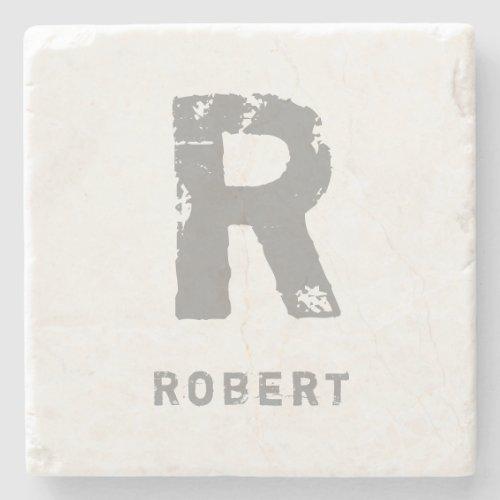 Creative Monogram Template Elegant Initial Marble Stone Coaster