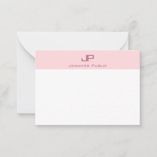 Creative Monogrammed Blush Pink Minimalist Trendy Note Card
