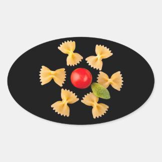 Creative Pasta Flower Oval Sticker