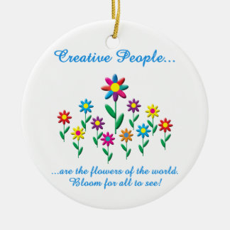 Creative People Double-Sided Ceramic Round Christmas Ornament