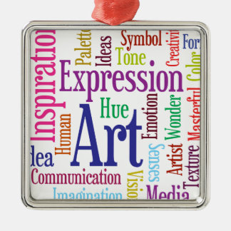Creative Person's Art and Inspiration Word Cloud Metal Ornament