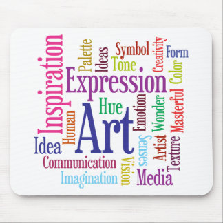Creative Person's Art and Inspiration Word Cloud Mouse Pad