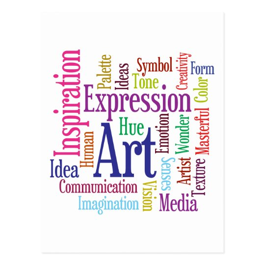 Creative Person's Art and Inspiration Word Cloud Postcard