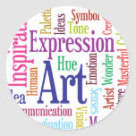Creative Person's Art and Inspiration Word Cloud Round Stickers