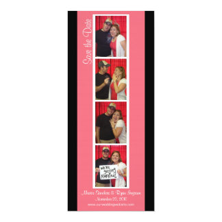 Creative Photo Booth Save the Date (Pink & Black) 4x9.25 Paper Invitation Card