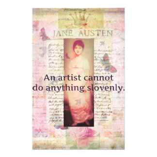 Creative quote about artists by Jane Austen Customized Stationery