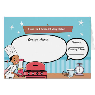 Creative Recipe Note Card Fill in the Blanks