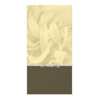 Creative sandal colored blossom and swirls gift custom photo card