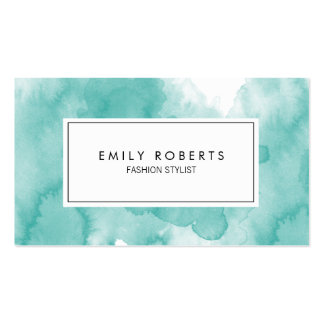 Creative Teal Watercolor Fashion Stylist Business Card