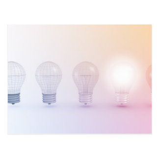 Creative Thinking with Light Bulb Illuminated Postcard