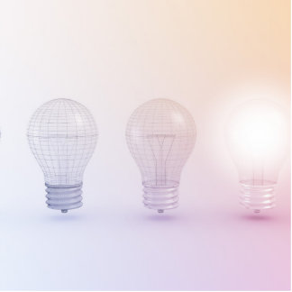 Creative Thinking with Light Bulb Illuminated Statuette