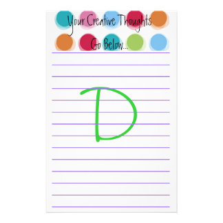 """Creative Thoughts """"D"""" Customized Stationery"""
