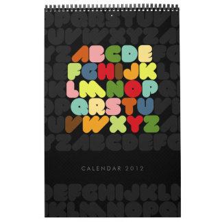 Creative Typography Alphabet Months 2012 calendar