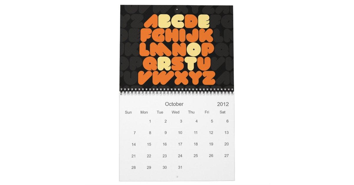 Typography Calendar Creative : Creative typography alphabet months calendar zazzle