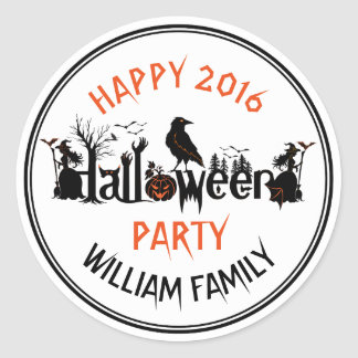 Creative Typography Halloween Party Template Classic Round Sticker