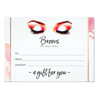 Creative Watercolor Eyebrows Gift Certificate Card