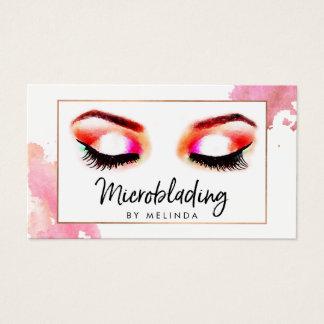 Creative Watercolor Eyebrows Microblading Business Card
