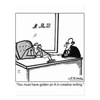 Creative Writing on Tax Return Postcard