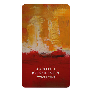 Creative Yellow Dark Brownish Red Abstract Art Business Card