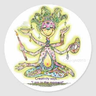 Creatividad Meditating Pegatina Redonda