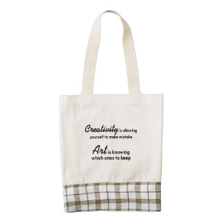 Creativity is allowing yourself to make mistake zazzle HEART tote bag
