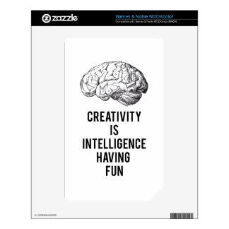 creativity is intelligence having fun decal for NOOK color