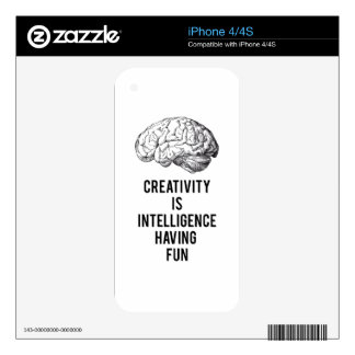creativity is intelligence having fun skins for iPhone 4S