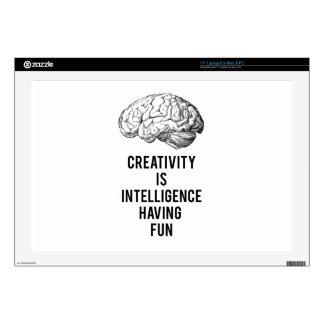 "creativity is intelligence having fun 17"" laptop decals"