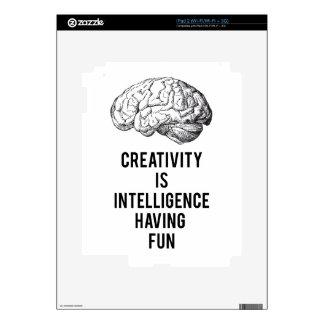 creativity is intelligence having fun skins for iPad 2