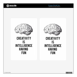 creativity is intelligence having fun skins for kindle fire