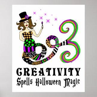 Creativity Spells Halloween Magic Magical Mermaid Poster