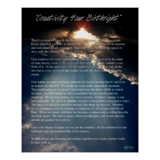 Creativity Your Birthright  by Apollo Poster