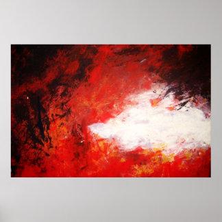 Creativo rojo de la pintura de la impresión abstra póster