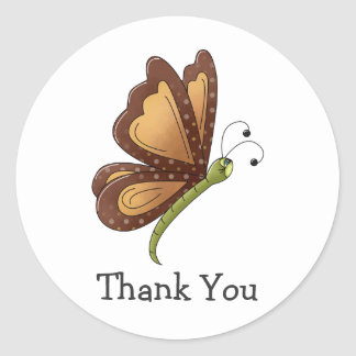 Creator's Canvas · Caramel Brown Butterfly Round Stickers