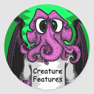 Creature Features Logo Shirt featuring Cthulhu Classic Round Sticker