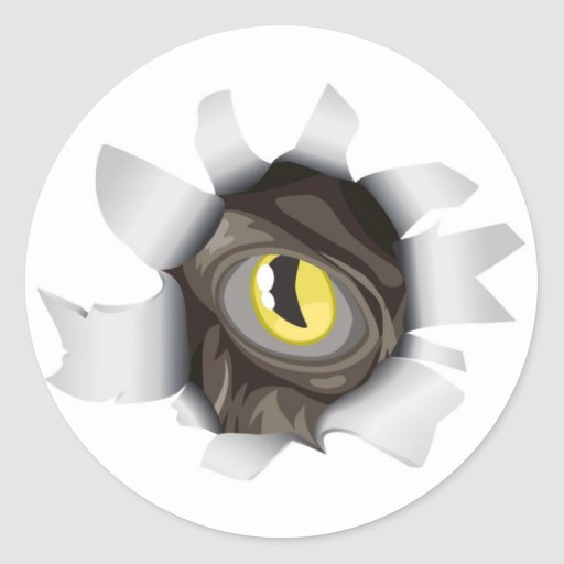 Creature looking through tear classic round sticker