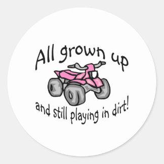 Crecido todo y todavía jugando en patio de los pegatina redonda