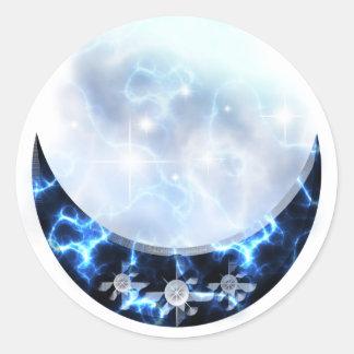 Creciente vertical azul eléctrico pegatina redonda