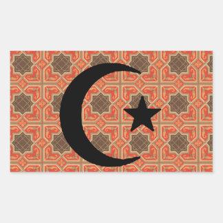 Creciente y estrella con el fondo persa de la teja pegatina rectangular