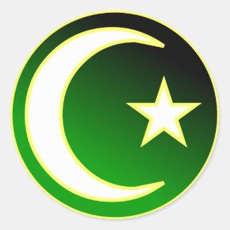Creciente y estrella del Islam Pegatina Redonda