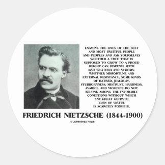 Crecimiento favorable Nietzsche de las condiciones Pegatina Redonda