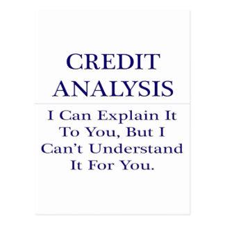 Credit Analysis .. Explain Not Understand Postcard