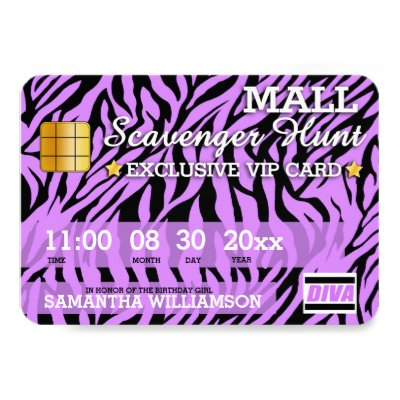 Mall scavenger hunt birthday party invitation zazzle filmwisefo Images