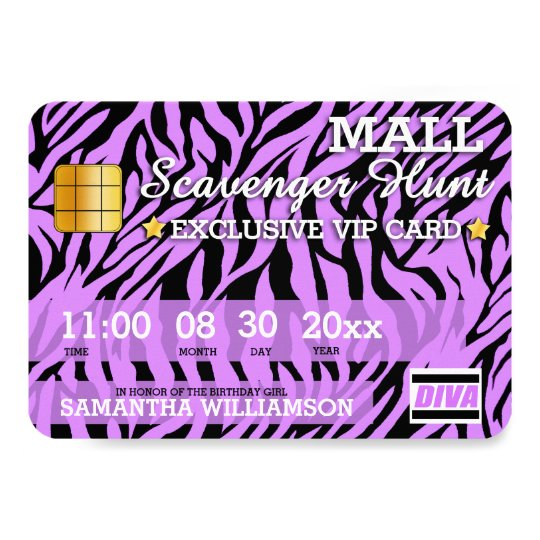 Credit Card Mall Scavenger Hunt Party Invitation Zazzle Com