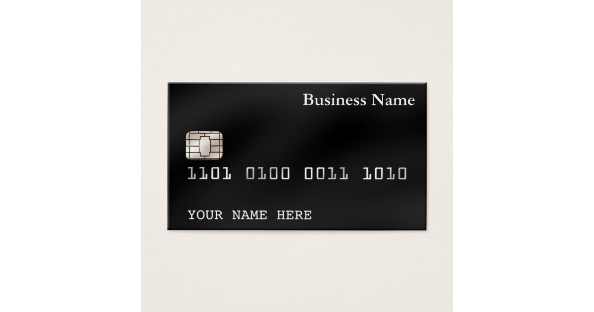 Credit Card style BUSINESS CARD (2-sided) black | Zazzle.com