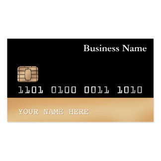 Credit Card style BUSINESS CARD 2-sided black gold