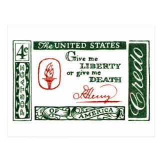 Credo 1961 del americano de Patrick Henry Postales