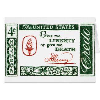 Credo 1961 del americano de Patrick Henry Tarjeta De Felicitación