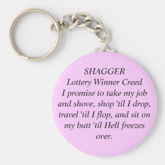 Credo B/P del ganador de lotería de SHAGGER por la Llavero Redondo Tipo Pin