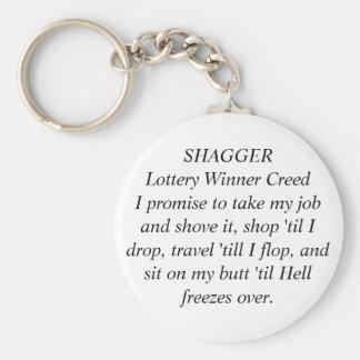 Credo B/W del ganador de lotería de SHAGGER por la Llavero Redondo Tipo Pin